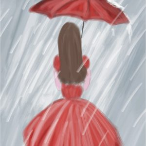 A water coloring of the backside of a woman in a red dress, holding a red umbrella with rain pouring down.