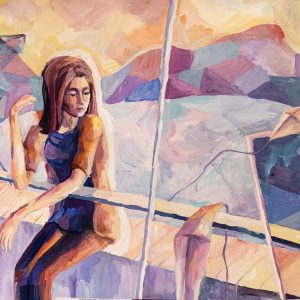 watercolor painting of a woman sitting outside and leaning on a railing