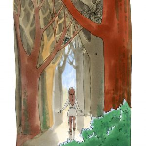 Water colored image of a girl walking through a pathway in the woods.