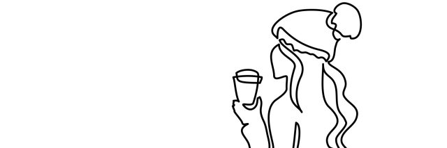 A continuous line illustration of a woman wearing a Santa hat, drinking out of a coffee cup.