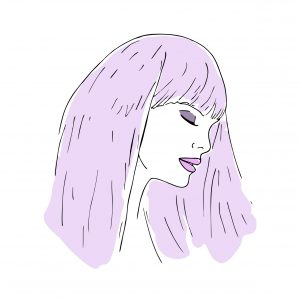 An illustration of a woman with purple hair and pink lips, her eyes closed.