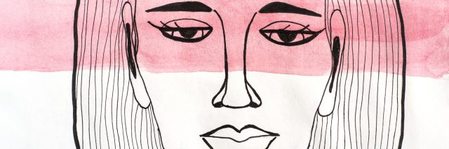 Drawing of a sad woman with a red streak of paint going across her eyes.