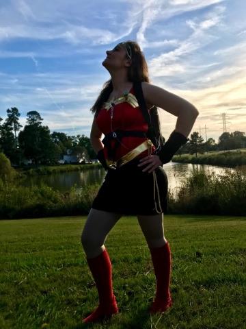 woman dressed as superhero