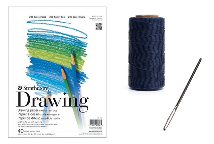drawing pad, needle and thread