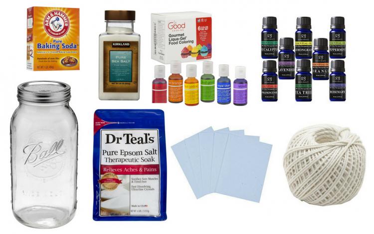 mason jar, epsom salt, baking soda, sea salt, food coloring, essential oils, card stock and string