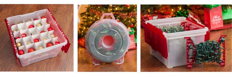 ornaments storage box, wreath storage box, and christmas lights storage box
