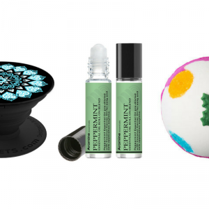 popsocket, peppermint essential oil roll on stick, lush bath bomb