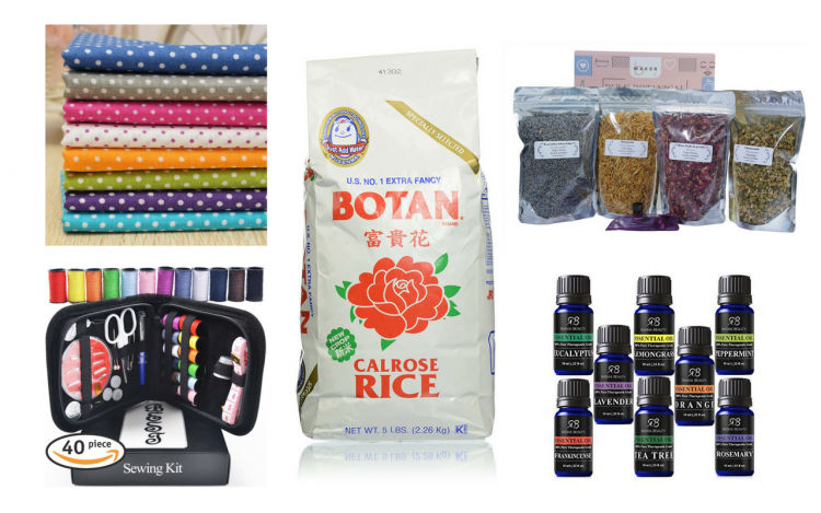 fabric, sewing kit, rice, essential oils and dried herbs for a rice pack