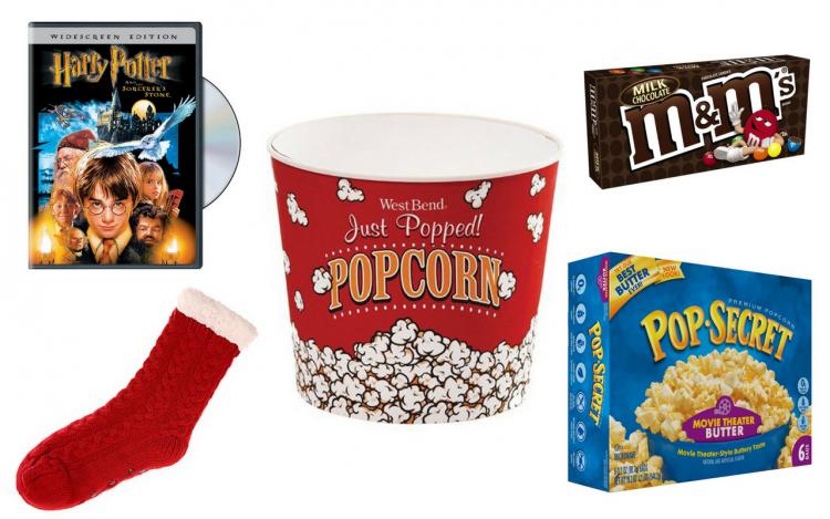 dvd, fuzzy socks, popcorn bucket, popcorn and candy