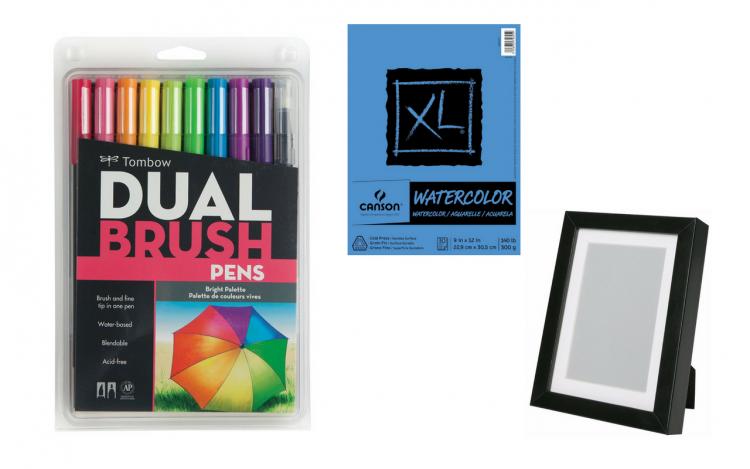 tombow dual brush pens, watercolor paper, black frame