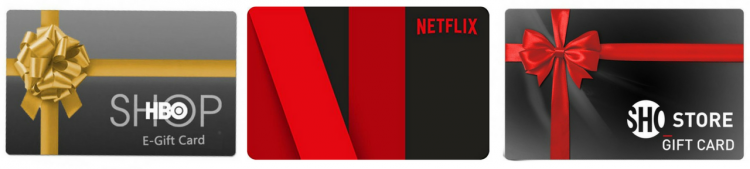 hbo gift card, netflix gift card, showtime gift card