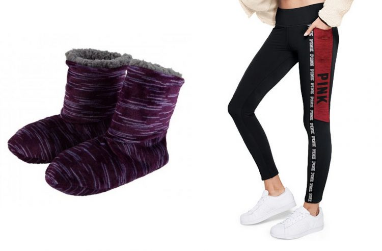purple soft boots and black leggings with red victoria's secret logo on side
