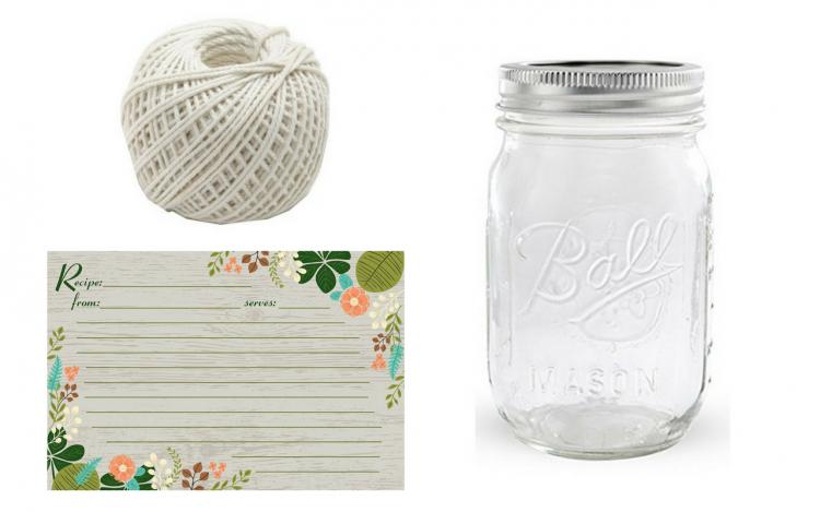 string, recipe card and mason jar