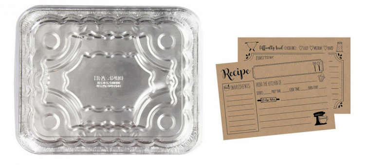 disposable aluminum pan and recipe cards
