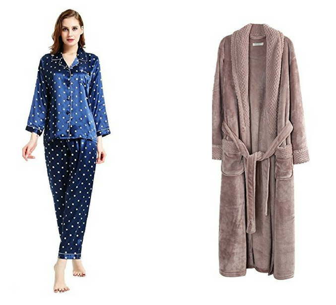 silky pajamas and plush robe