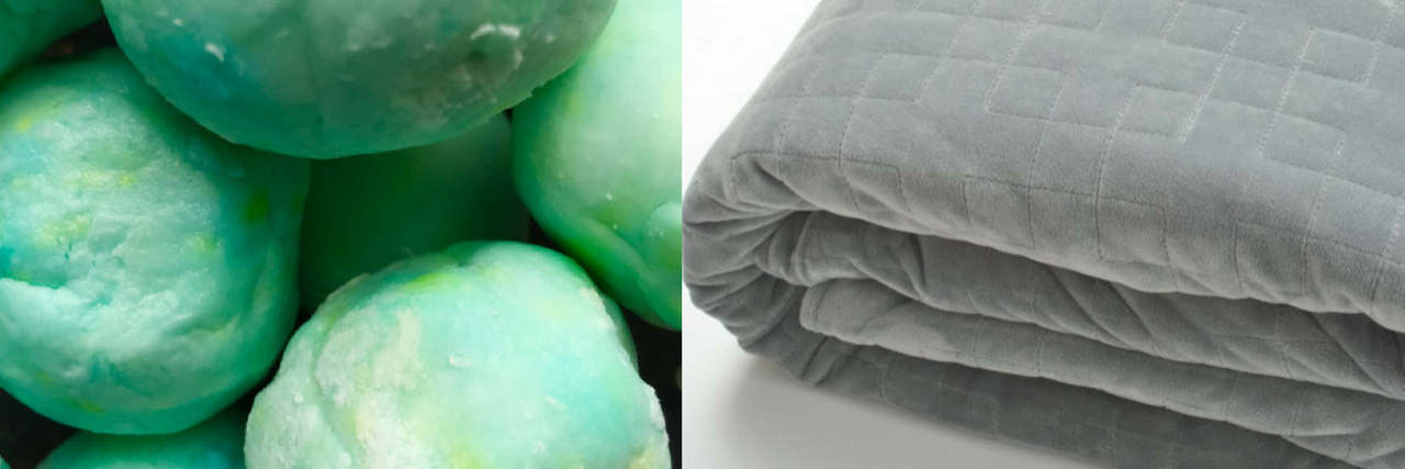 weighted blanket and bath bombs