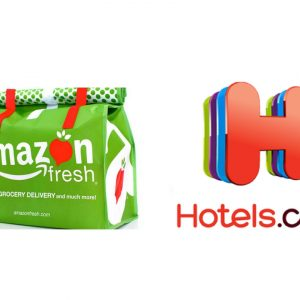 amazon fresh bag and hotels.com logo