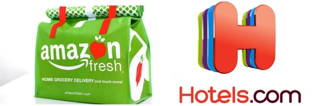 amazon fresh bag and hotels.com logo