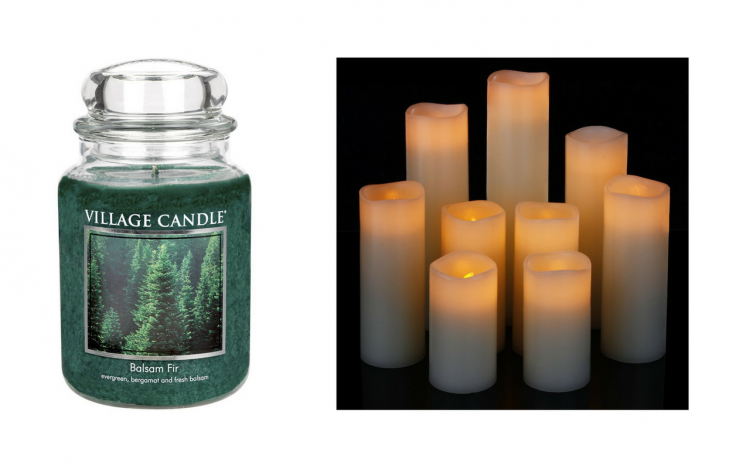 balsam fir scented candle and a set of battery operated candles