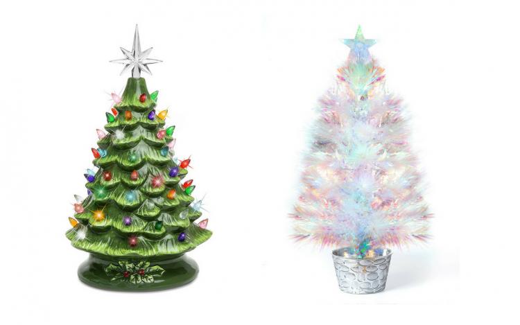 ceramic light-up tree and fiber optic tree