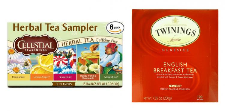 celestial seasonings herbal tea and twinings english breakfast tea