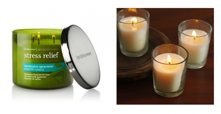 bath and body works stress relief and small unscented candles
