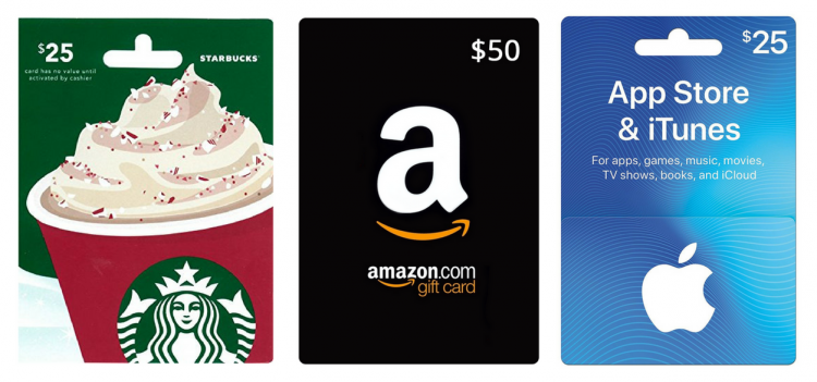 starbucks gift card, amazon gift card, itunes gift card
