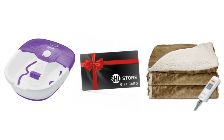 foot spa, showtime gift card, heated blanket