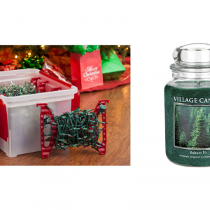 christmas lights storage box and balsam fir scented candle