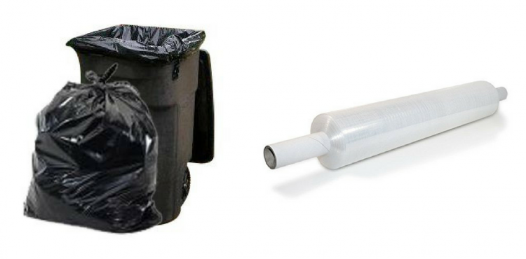 large trash bags and plastic packing wrap