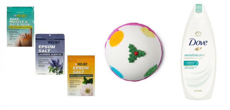epsom salt, lush bath bomb, and dove unscented body wash