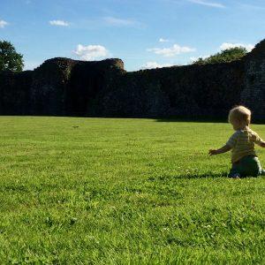 Little boy in a large green field