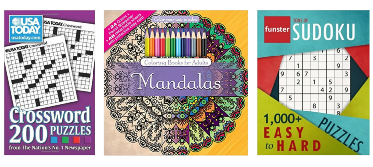 crossword puzzles, adult coloring book, and sudoku book