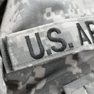 Army logo on military jacket