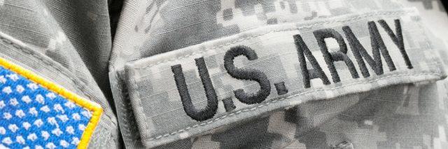 Army logo on military jacket