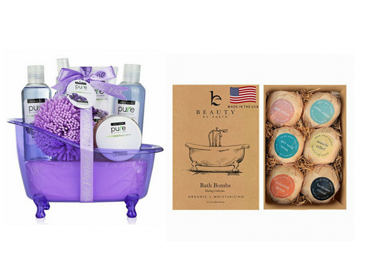 self-care kit with toiletries and bath bombs