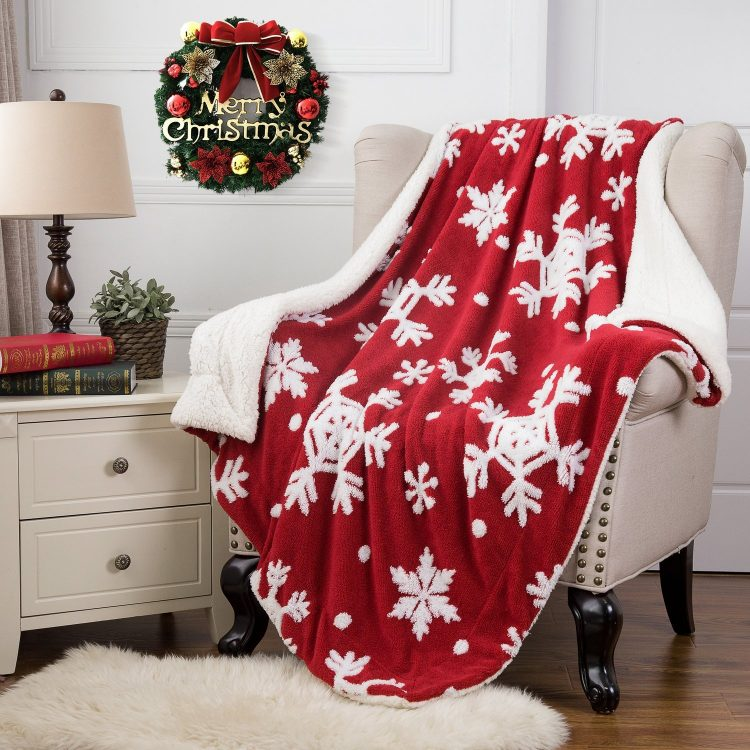 red and white snowflake holiday throw blanket