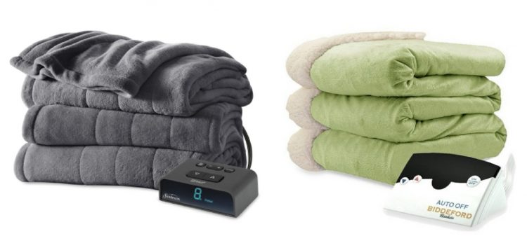 gray electric blanket and green electric blanket