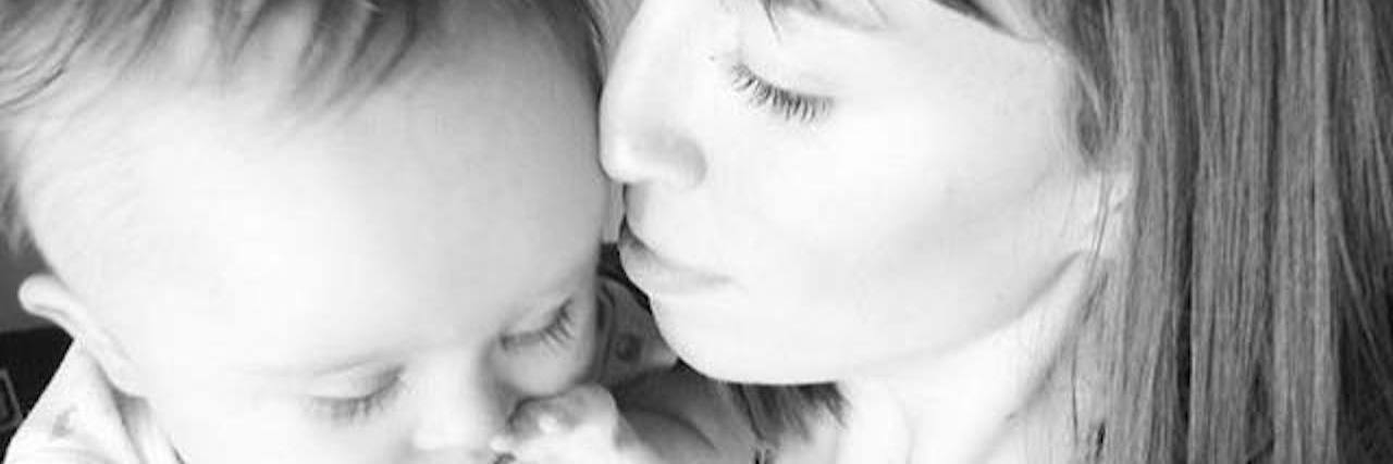 Mother and baby, black and white picture