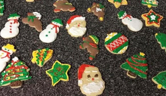 a bunch of christmas cookie on a table