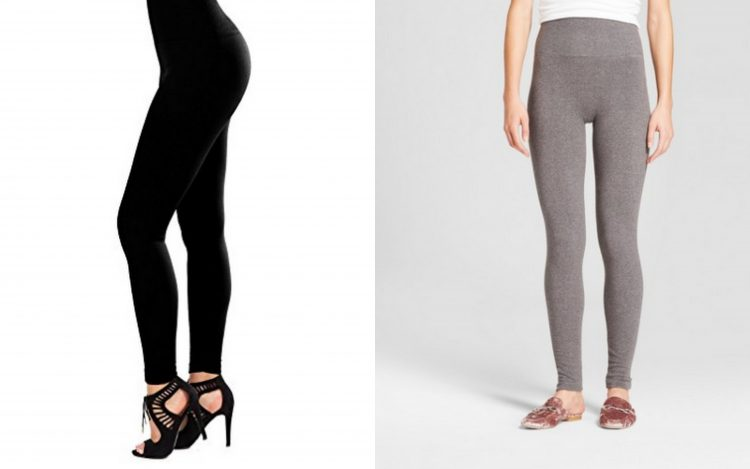 black leggings and gray leggings