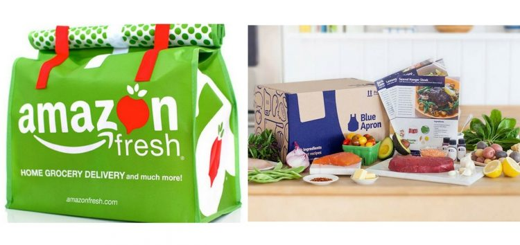 amazon fresh grocery bag and blue apron box with ingredients and recipe cards