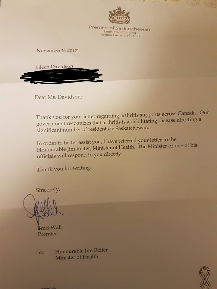 A response to her letter.