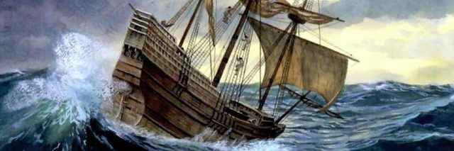 ship during a storm at sea