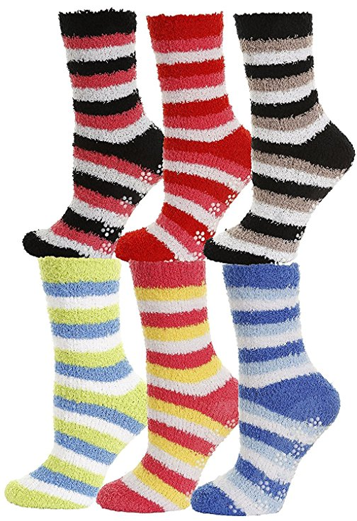 fuzzy socks with rubber grips on the bottom