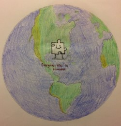 drawing of a puzzle piece in the middle of the globe