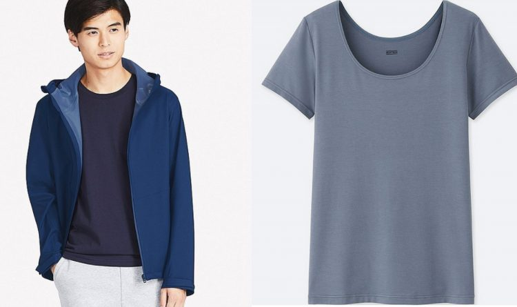 uniqlo men's parka and women's blue t shirt