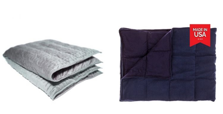 gray and blue weighted blankets