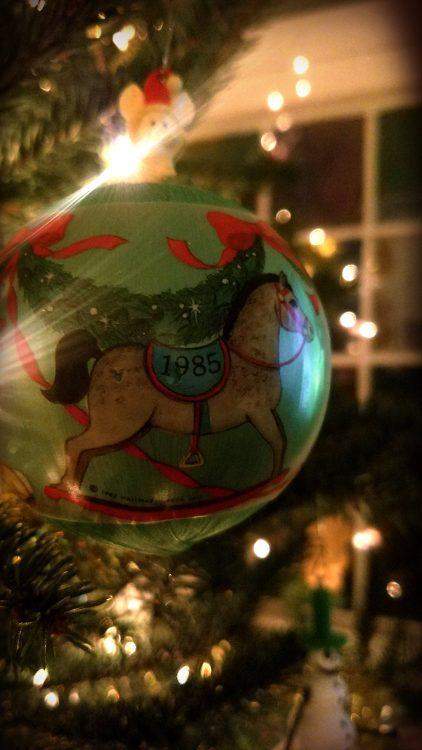 christmas ornament hanging on tree