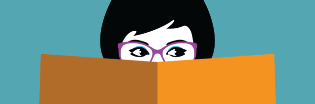 illustration of woman in glasses holding a book over her mouth and part of her face